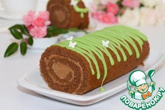 Рецепт: Бисквитный шоколадный рулет с глазурью