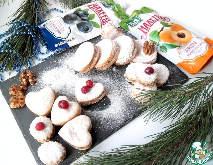 Рецепт: Творожное печенье с джемом