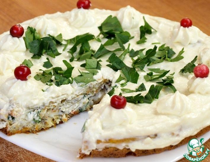 Рецепт: Грибной бисквитный торт с сырным кремом