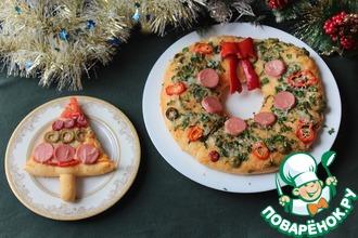 Рецепт: Пицца Ёлочки и Веночек