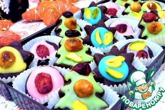 Рецепт: Конфеты шоколадно-марципановые в сахарной глазури