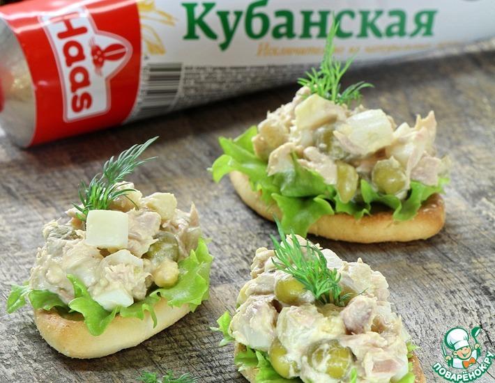 Рецепт: Тарталетки с тунцом и горчичной заправкой