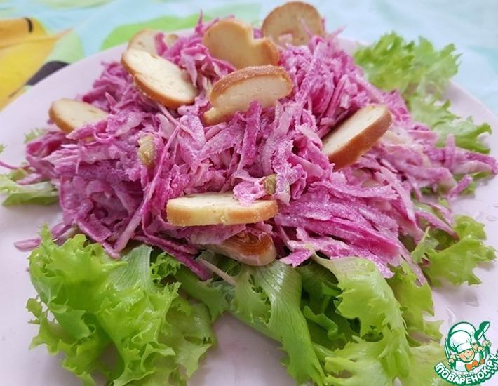 Рецепт: Салат из сухариков с редькой