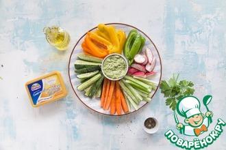 Рецепт: Сырный дип со свежими овощами