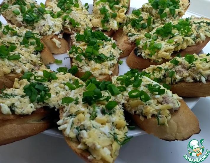 Рецепт: Бутерброды с печенью трески и сыром