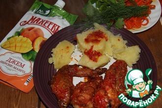 Рецепт: Пряные куриные крылышки в соусе Манго