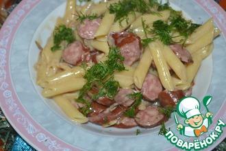 Рецепт: Паста с колбасками и горчицей