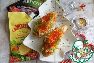 Рецепт: Закуска на тостах с красной икрой