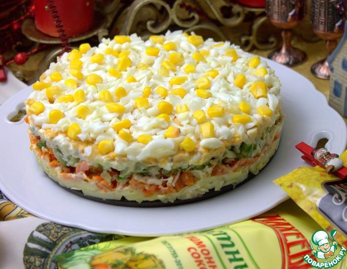 Рецепт: Закусочный торт с печенью трески