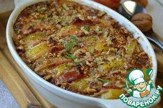 Рецепт: Запеканка картофельная с яблоками и орехами