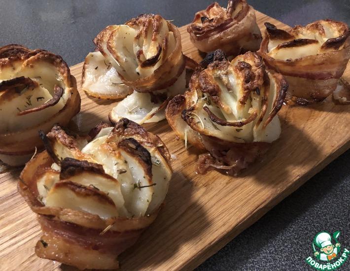 Рецепт: Розы из картофеля и бекона