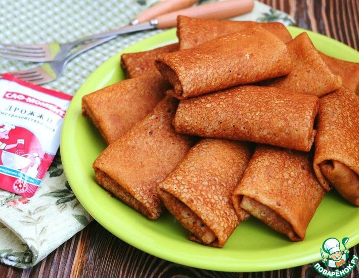 Рецепт: Гороховые блины с печенью и рисом