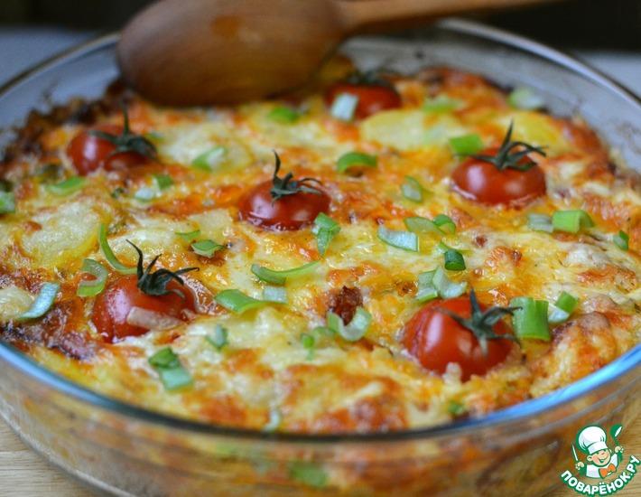 Рецепт: Картофельный омлет с помидорами