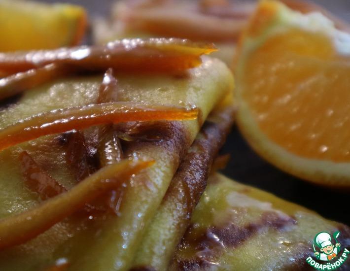 Рецепт: Блинчики с творогом под апельсиновым соусом