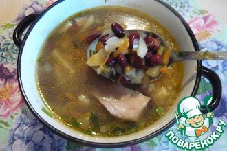 Рецепт: Суп с фасолью и маринованными огурцами