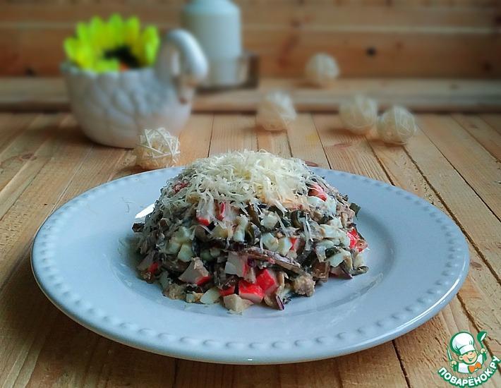 Рецепт: Салат с морской капустой и рыбой