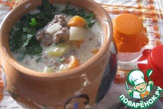 Рецепт: Густой сырный суп с фаршем