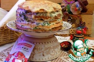 Рецепт: Блинный пирог с двумя сырами