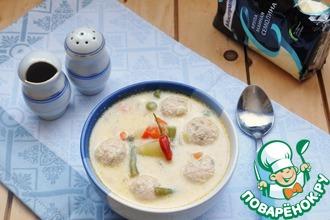 Рецепт: Сырный суп с овощами и фрикадельками
