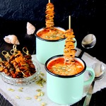 Итальянский суп с рисом и мидиями