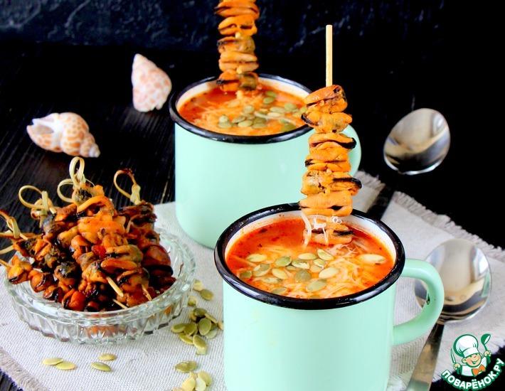 Рецепт: Итальянский суп с рисом и мидиями