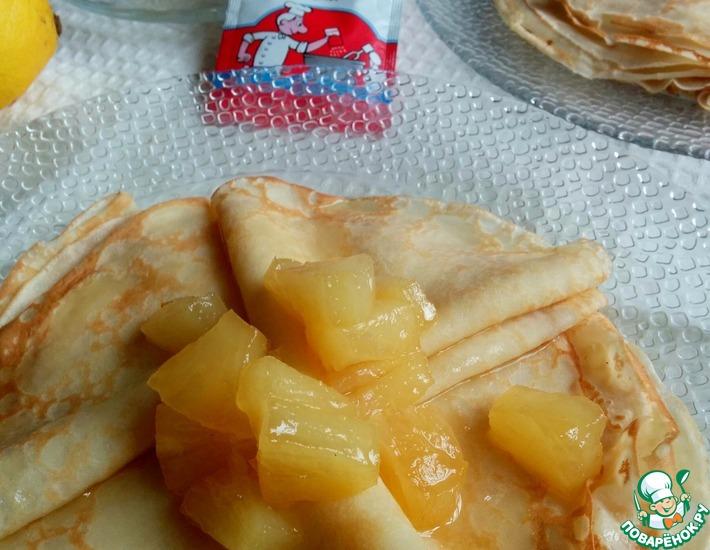 Рецепт: Кокосовые блины с карамелизированными ананасами
