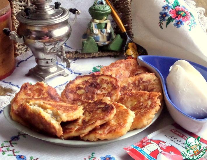 Рецепт: Овсяные оладьи с тыквой и моцареллой