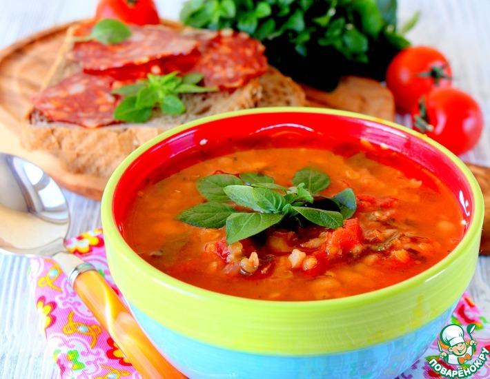 Рецепт: Испанский суп с колбасой Чоризо