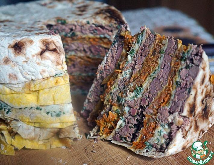 Рецепт: Торт лавашный слоеный