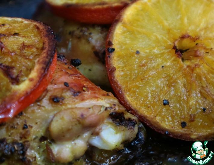 Рецепт: Курица в духовке с апельсинами