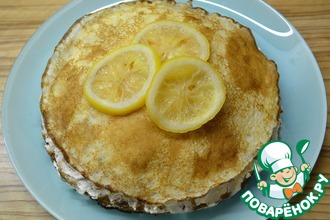 Рецепт: Блинный торт с лимонным творогом