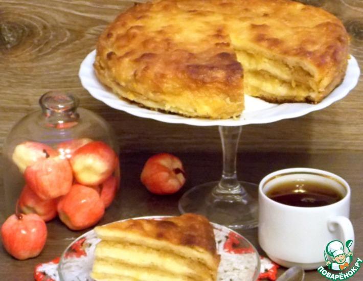 Рецепт: Творожно-яблочная баница