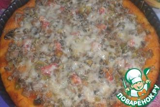 Рецепт: Пицца дрожжевая с грибами и мясом