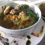 Густой рисово-чечевичный суп Ароматный