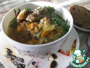 Рецепт: Густой рисово-чечевичный суп Ароматный