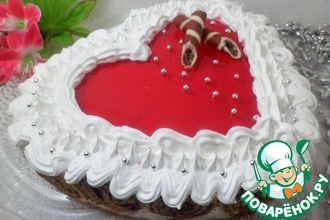 Рецепт: Блинный торт-суфле Сердце