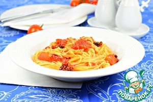 Spaghetti with tomatoes for ten minutes