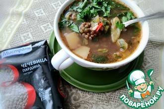 Рецепт: Суп с чечевицей и свиными ребрышками