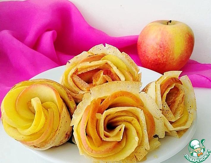 Рецепт: Блины с яблоками Розы