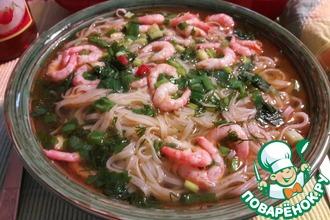 Рецепт: Вьетнамский суп Фо с креветками
