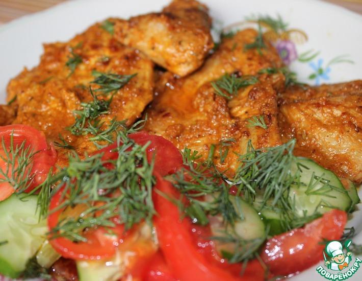 Рецепт: Жареная свинина в томатном маринаде