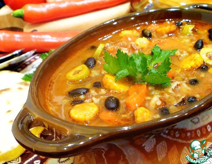 Рецепт: Мексиканский суп с рисом и фасолью