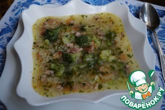 Рецепт: Суп рисовый с брокколи и копчёностями
