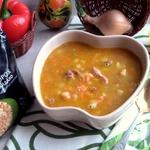 Гороховый суп с жареным картофелем