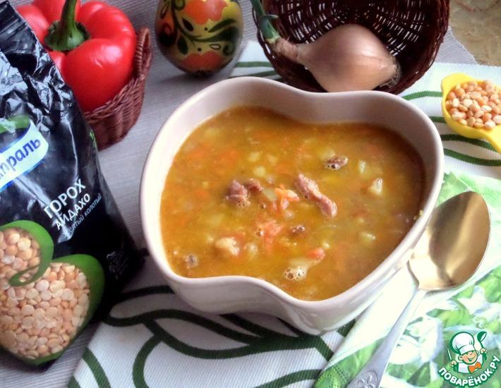 Рецепт: Гороховый суп с жареным картофелем
