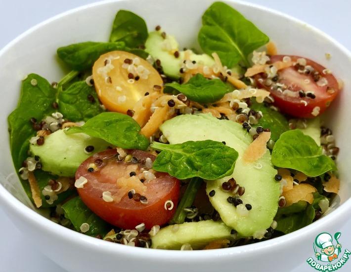 салат с киноа овощами и авокадо кулинарный рецепт