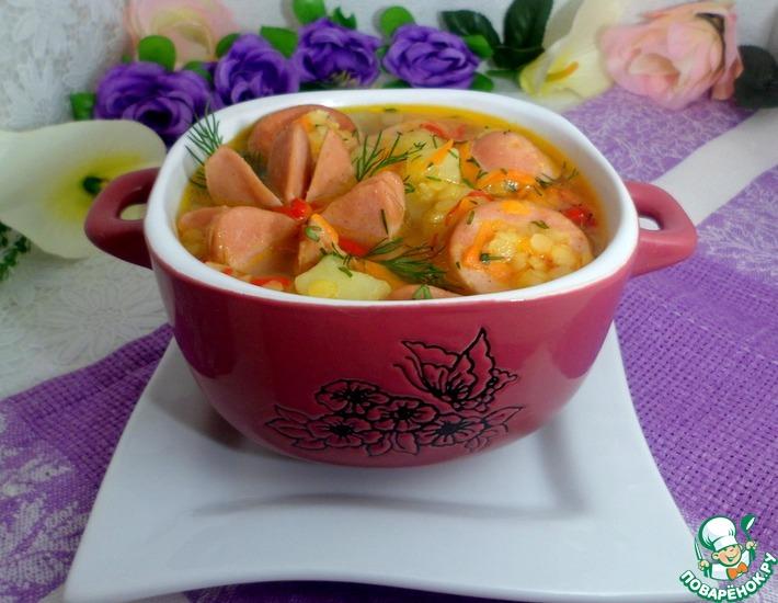 Рецепт: Суп из чечевицы с сардельками