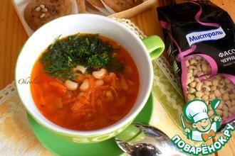 Рецепт: Постный фасолево-томатный суп