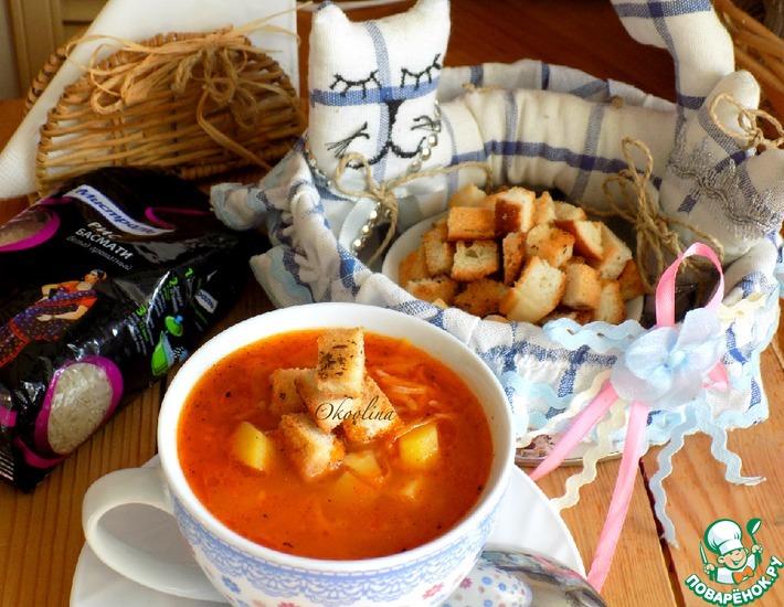 Рецепт: Постный картофельный суп с рисом