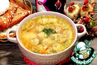 Рецепт: Суп с рисом и куриными фрикадельками